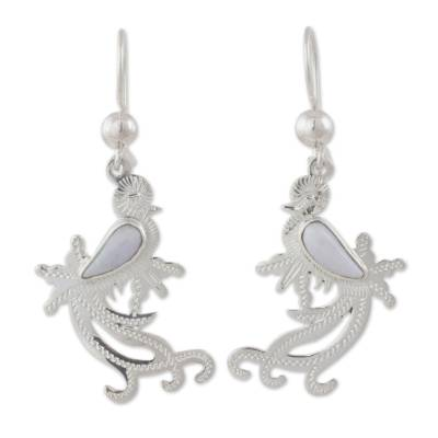 Sterling Silver and Lilac Jade Earrings of Quetzal Bird