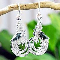 Dark green jade dangle earrings, 'Quetzal Beauty' - Dark Green Jade on Handmade Sterling Silver Bird Earrings