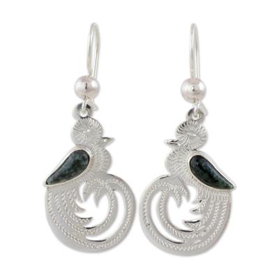 Dark green jade dangle earrings, 'Quetzal Beauty' - Dark Green Jade on Handmade Sterling Silver Bird Earrings