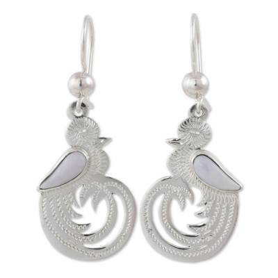 Sterling Silver Bird Jewelry Earrings with Lilac Jade Wing