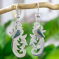 Light green jade dangle earrings, 'Forest Quetzal'