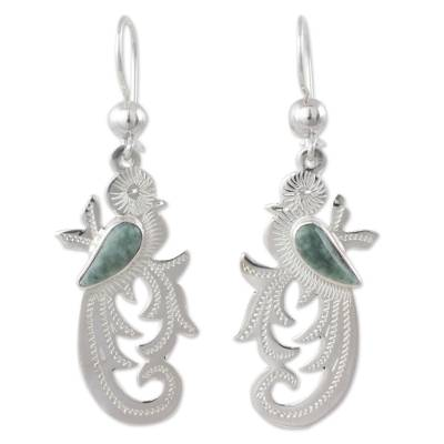 Light green jade dangle earrings, 'Forest Quetzal' - Hand Crafted Sterling Silver Bird Earrings with Jade Wing