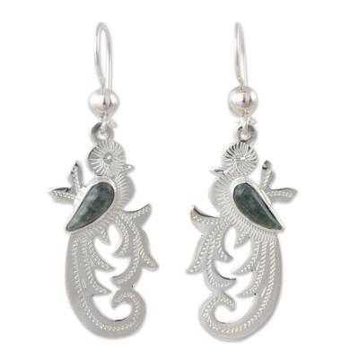 Dark green jade dangle earrings, 'Forest Quetzal' - Dark Green Jade on Handmade Sterling Silver Bird Earrings