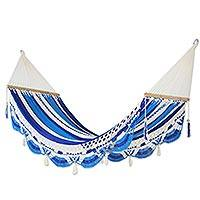 Cotton hammock, 'Ocean Waves' (single) - Nicaragua Handmade Blue and White Cotton Hammock (Single)