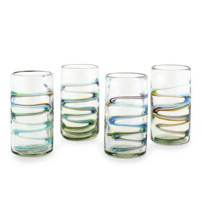 Blown glass tumblers, 'Rainbow Ripple' (set of 4) - Tumbler Glasses Hand Blown Glass Art 11 oz  (Set of 4)