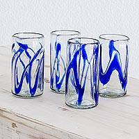 Blown glass tumblers, 'Capricious Cobalt' (set of 4)