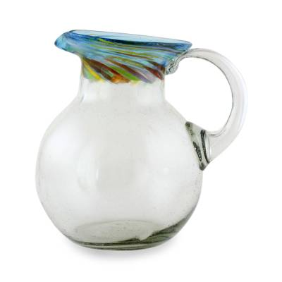 Blown glass pitcher, 'Aurora' - Fair Trade Artisan Crafted Hand Blown Glass Pitcher 94 oz.