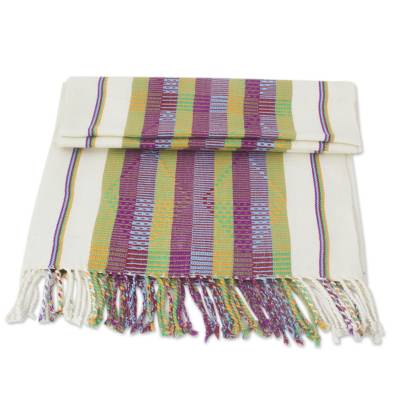 ivory and purple table runner