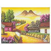 'Sunset in Atitlan' - Signed Sunset Painting of Lake Atitlan