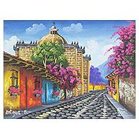 'Streets of Antigua Guatemala' - Original Signed Oil Painting of a Guatemala Town