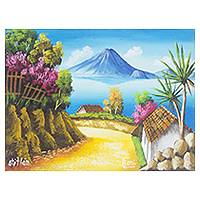 'Road to Lake Atitlan' - Artist's View of Lake Atitlan in Oil on Canvas