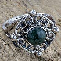 Jade cocktail ring, 'Maya Cardinal Points' - Antiqued Sterling Silver Ring with Guatemalan Jade