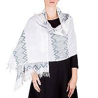 Cotton shawl, 'Lead Green Santa Cruz Hills' - Guatemalan Pic Bil Handwoven White and Green Cotton Shawl