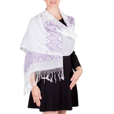 Cotton shawl, 'Purple Santa Cruz Hills' - White and Purple Guatemalan Pic Bil Handwoven Cotton Shawl