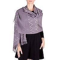 Cotton shawl, 'Pic Bil Grey' - Maya Pic Bil Handwoven Cotton Shawl in Grey