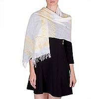 Cotton shawl, 'Santa Cruz Sunshine' - Yellow and White Pic Bil Maya Cotton Handwoven Shawl