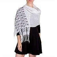Cotton shawl, 'Flowing Black River' - Black and White Maya Pic Bil Handwoven Cotton Shawl