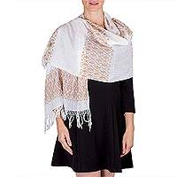 Cotton shawl, 'Stars and Clouds' - White Maya Backstrap Loom Brown Trim Cotton Shawl