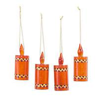 Reclaimed wood ornaments, 'Orange Candles' (set of 4) - Artisan Crafted Cypress Wood Christmas Ornaments (Set of 4)