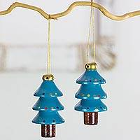 Reclaimed wood ornaments, 'Festive Teal Christmas Trees' (set of 4) - Artisan Crafted 4 Piece Set of Christmas Tree Ornaments