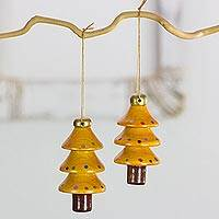 Reclaimed wood ornaments, 'Festive Yellow Christmas Trees' (set of 4) - 4 Yellow Tree Ornaments Hand Crafted with Reclaimed Wood