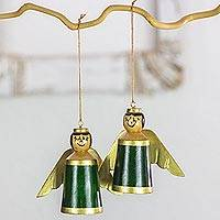 Wood ornaments, 'Little Angels in Green' (set of 4) - 4 Angels Green Ornaments Hand Crafted with Reclaimed Wood