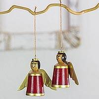 Wood ornaments, 'Little Angels in Burgundy' (set of 4) - 4 Burgundy Angels Ornaments Hand Crafted with Reclaimed Wood