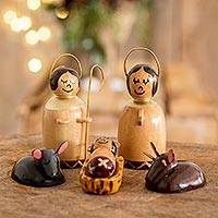 Wood nativity scene, 'Cypress Nativity' (6 pieces)