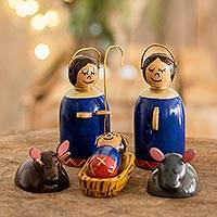 Wood nativity scene, 'Holy Family in Royal Blue' (6 pieces)