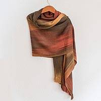 Rayon chenille shawl, 'Eternal Earth Allure' - Handwoven Backstrap Loom Rayon Chenille Shawl in Earth Tones