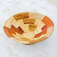 Mahogany and teakwood fruit bowl, 'Tikal Stairway' - Mahogany and Palo Blanco Wood Fruit Bowl Crafted by Hand
