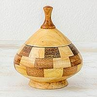 Decorative lidded wood vessel, 'Natural Spiral' - Guatemalan Lidded Vessel Hand Crafted with Natural Woods