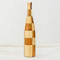 Mahogany wood decorative bottle sculpture, 'Natural Chess' - Artisan Crafted Mahogany and Palo Blanco Decorative Bottle