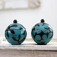 Ceramic jars, 'Turquoise Blossoms' (pair) - Floral Black and Turquoise Ceramic Jars with Lids (Pair)