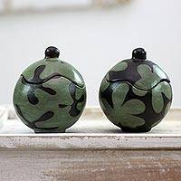 Ceramic jars, 'Black and Green Blossoms' (pair) - Two Round Honduran Ceramic Lidded Jars in Green and Black
