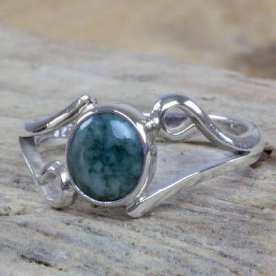 Guatemalan Jade on Sterling Silver Cocktail Ring