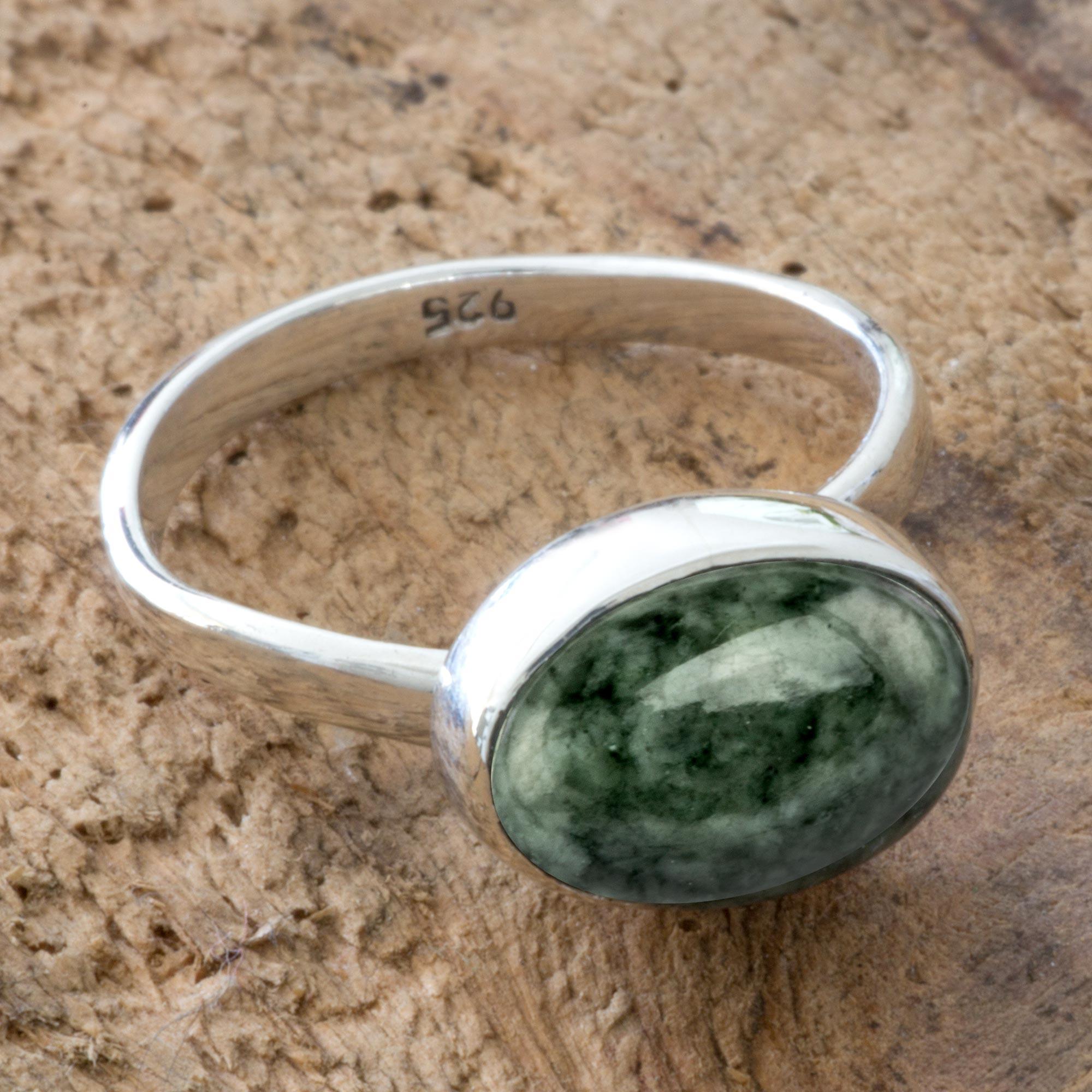 3f86b9dadb486 Light Green Guatemalan Jade Sterling Silver Ring, 'Jade Mystique'
