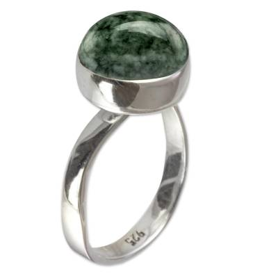 Jade single stone ring, 'Jade Mystique' - Light Green Guatemalan Jade Sterling Silver Ring