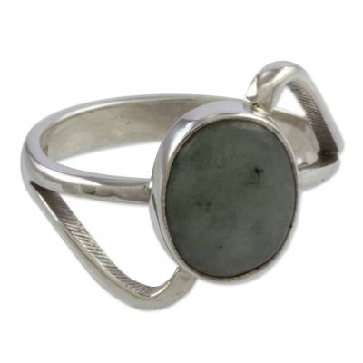 Modern Sterling Silver Ring with Guatemalan Jade