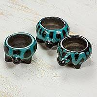 Ceramic tealight holders, 'Turquoise Turtles of Light' (set of 3) - Turquoise Turtle Ceramic Tealight Candle Holders (Set 3)