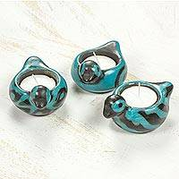 Ceramic tealight holders, 'Turquoise Doves of Light' (set of 3) - Ceramic Turquoise Doves Tealight Candleholders (Set of 3)