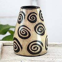 Ceramic vase, 'Lenca Snail' - Lenca Artistry Black and Ivory Ceramic Decorative Vase