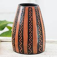 Ceramic vase, 'Mamey Paths' - Orange and Black Lenca Ceramic Artistry Decorative Vase