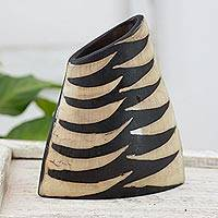 Ceramic vase, 'San Cristobal Volcano' - Striped Lenca Decorative Ceramic Vase from Honduras