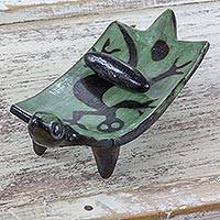 Ceramic sculpture, 'Green Iguana Medic' - Green and Black Iguana Decorative Ceramic Grinding Stone