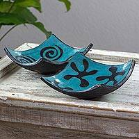 Ceramic catchall, 'Lenca Turquoise Starry Spirals' (pair) - Stars and Spirals on Turquoise 6-in Ceramic Catchalls (Pair)