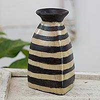 Ceramic vase, 'Desert Triangle' - Ivory and Black Decorative Ceramic Vase Crafted in Honduras
