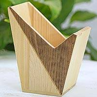 Wood magazine rack, 'Asymmetric Nature' - Artisan Crafted Wood Magazine Rack from Guatemala