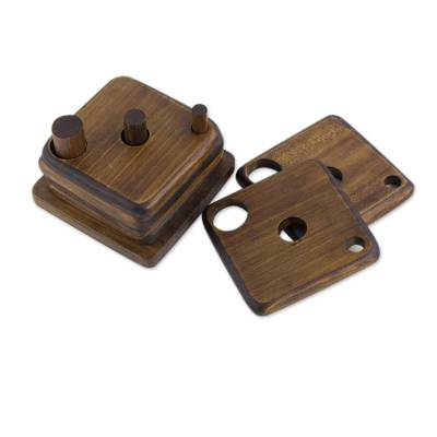 Set of 6 Square Wood Coasters with Holder from Guatemala
