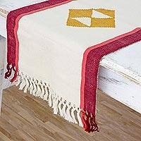 Cotton table runner, 'Cherry Orchard Path' - Maya Backstrap Loom Handwoven Cotton Table Runner